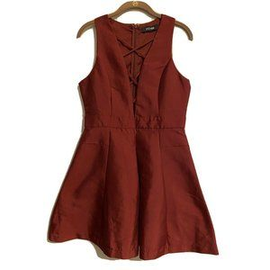 Do+Be Sleeveless Maroon Fit Flare Strappy Dress L